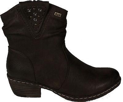 02dcd87b8022 RIEKER Schuhe Stiefeletten Western Style Braun Reißverschluss TEX  Warmfutter NEU