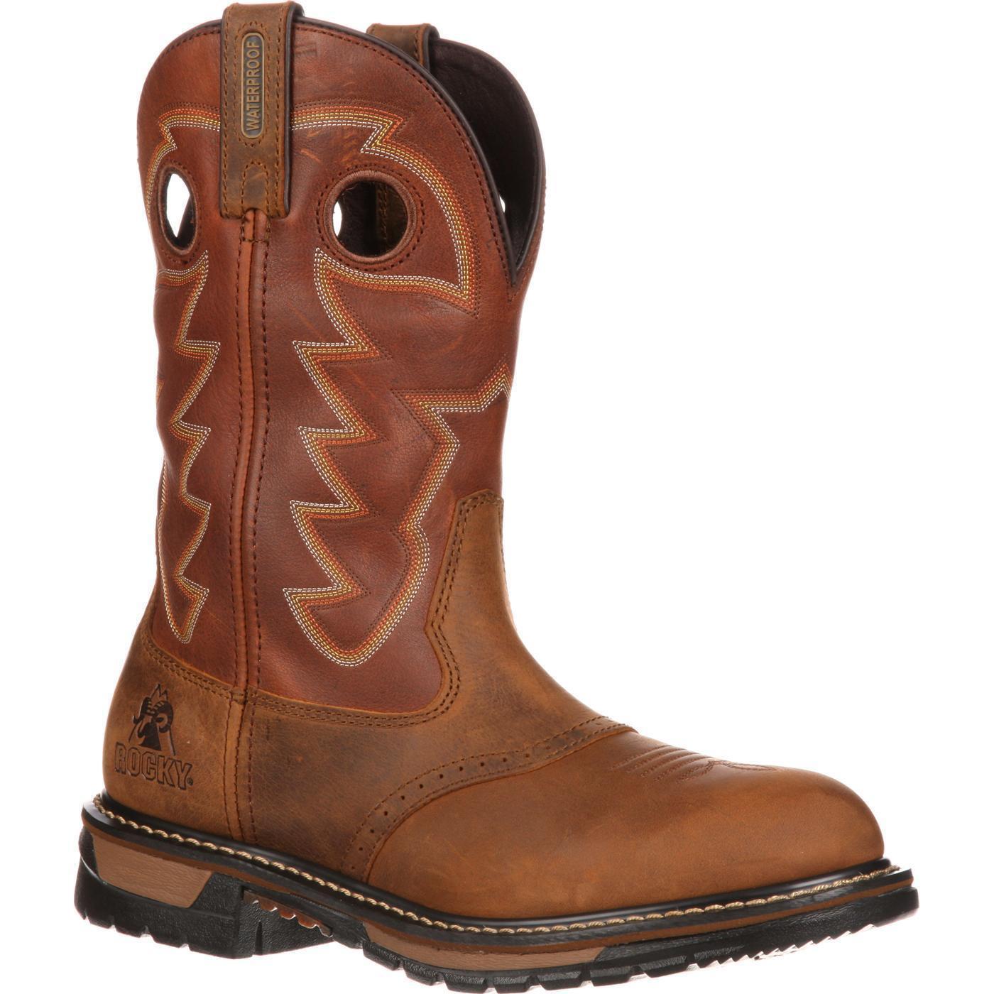 Rocky 2775 Original Ride Branson Saddle Saddle Saddle Leather Pull On Roper Western Work Stiefel 3f23b2