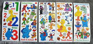 Lot-of-5-DIFFERENT-DESIGN-Sesame-Street-Big-Stickers-School-Sports-Christmas-Art