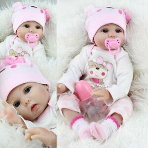 22'' Bambole Reborn Baby Dolls Morbido Vinile Realistico Silicone
