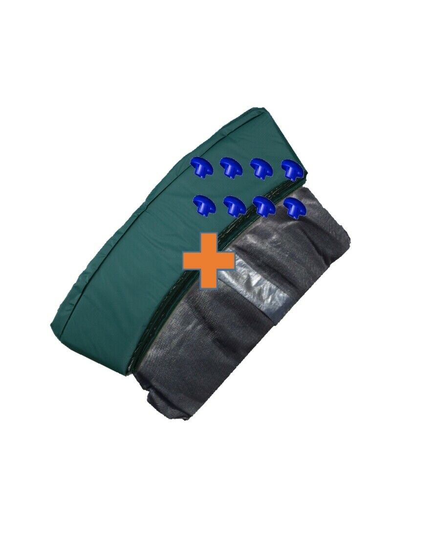 Trampoline Rand Cover Grün + Safety net 8 Rods 244 305 366 396 427 457cm