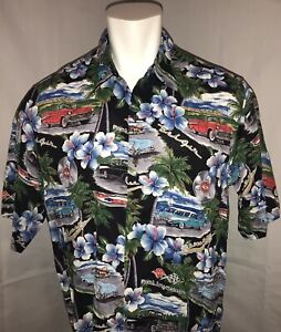 Reyn-Spooner-Mens-XL-Hawaiian-Camp-Shirt-100-Rayon-Classic-Cadillac-Cars-Black