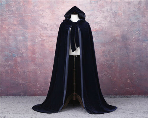 LINED GOTHIC CLOAK HALLOWEEN BLACK CAPE HOODED WICCA MEDIEVAL LARP SCA VELVET