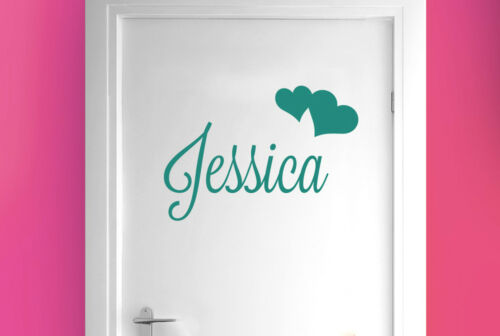 Personalised name with two hearts room door Wall Stickers Vinyl Art Decals