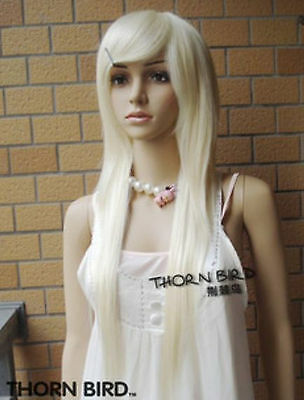 COS WIGS New long Platinum Blonde Fashion Straight Wig  Z63