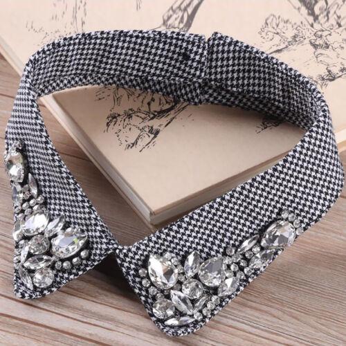 Detachable Blouse False Collar Shiny Diamonte Fake Collar Peter Pan Necklace