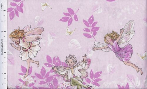 Flower Fairies PETAL FAIRY Double BORDER Pink Michael Miller Fabric By Half-Yard