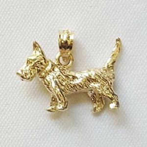 14k Yellow Gold TERRIER DOG 3D Solid Pendant / Charm, Made in USA | eBay