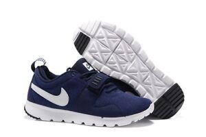 Men's Nike SB Trainerendor Leather Shoes Obsidian/White 806309-411
