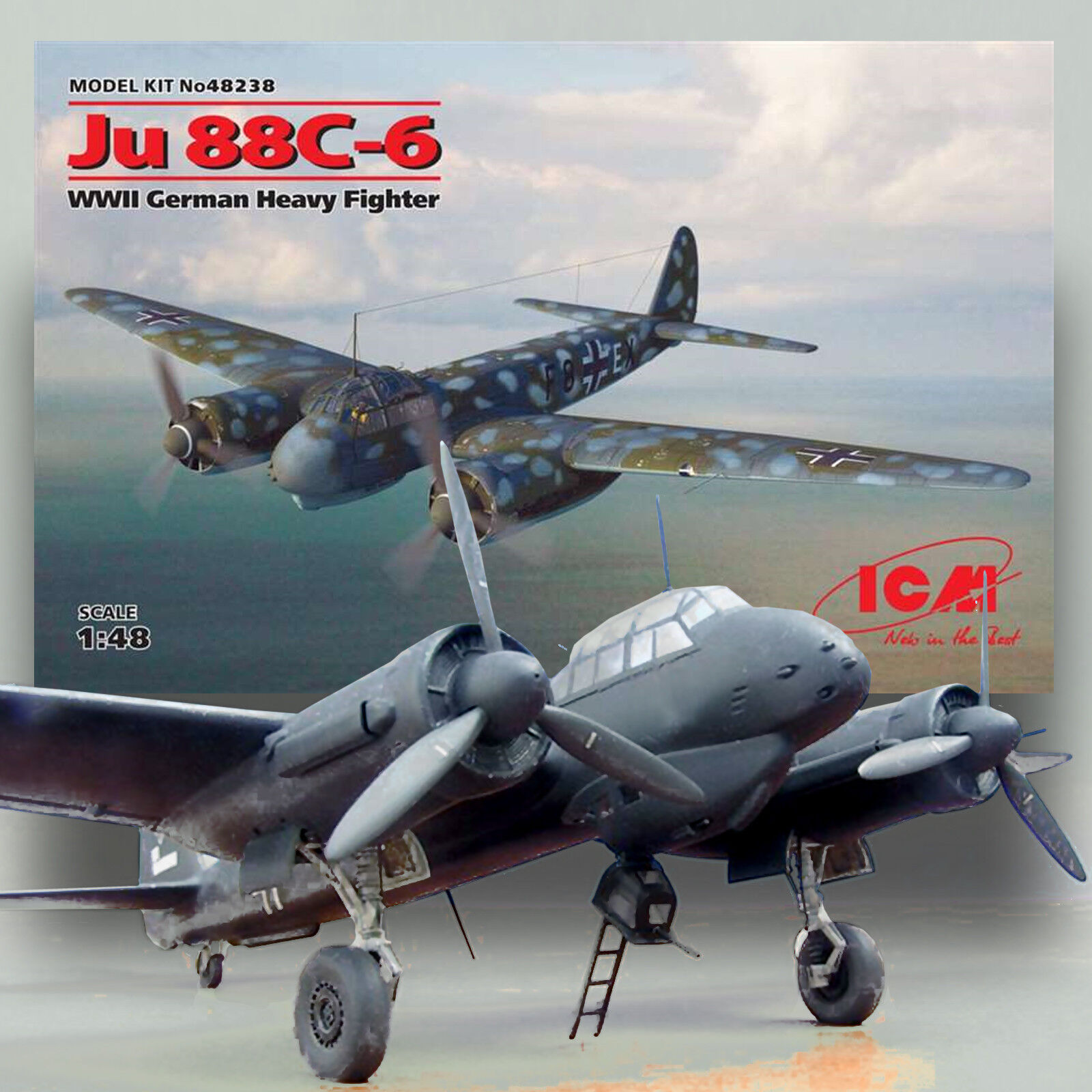 ICM 1 48 JUNKER JU 88C-6 TWIN ENGINE HEAVY FIGHTER KIT48238
