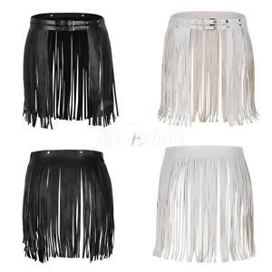 8cc1933fd Image is loading Women-Faux-Leather-Fringed-Tassel-Skirt-Short-Mini-
