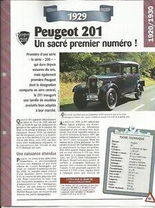 FICHE AUTOMOBILE - LA PEUGEOT 201 1929 CK497p0s-09153248-626196529