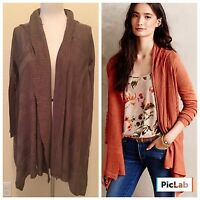 Moth Anthropologie Shawl Collar Light Weight Brown Sweater Cardigan Top L