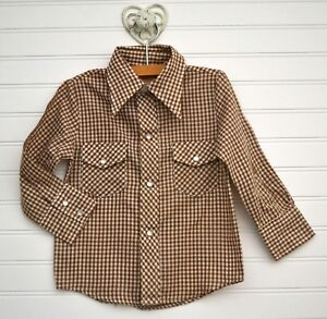 5e39cfb5 vintage WESTERN WEAR Sears Sz 4 Brown Gingham Plaid Button Down l/s ...