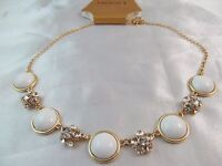 Monet Gold With Crystal Ball & White Stones Statement Necklace, Beautiful