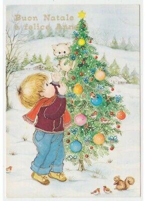 Immagini Natale Vintage.1987 Lucida Cartolina Bambino Gatto Albero Di Natale Scoiattolo Auguri Vintage Ebay