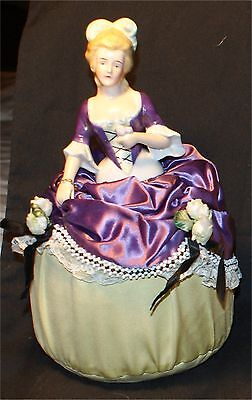 Antique lg 8.5  Half doll pin cushion purple & floral victorian figural women