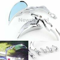 Chrome Universal Motorcycle Cruiser Flame Teardrop Side Mirrors 8/10mm For Honda