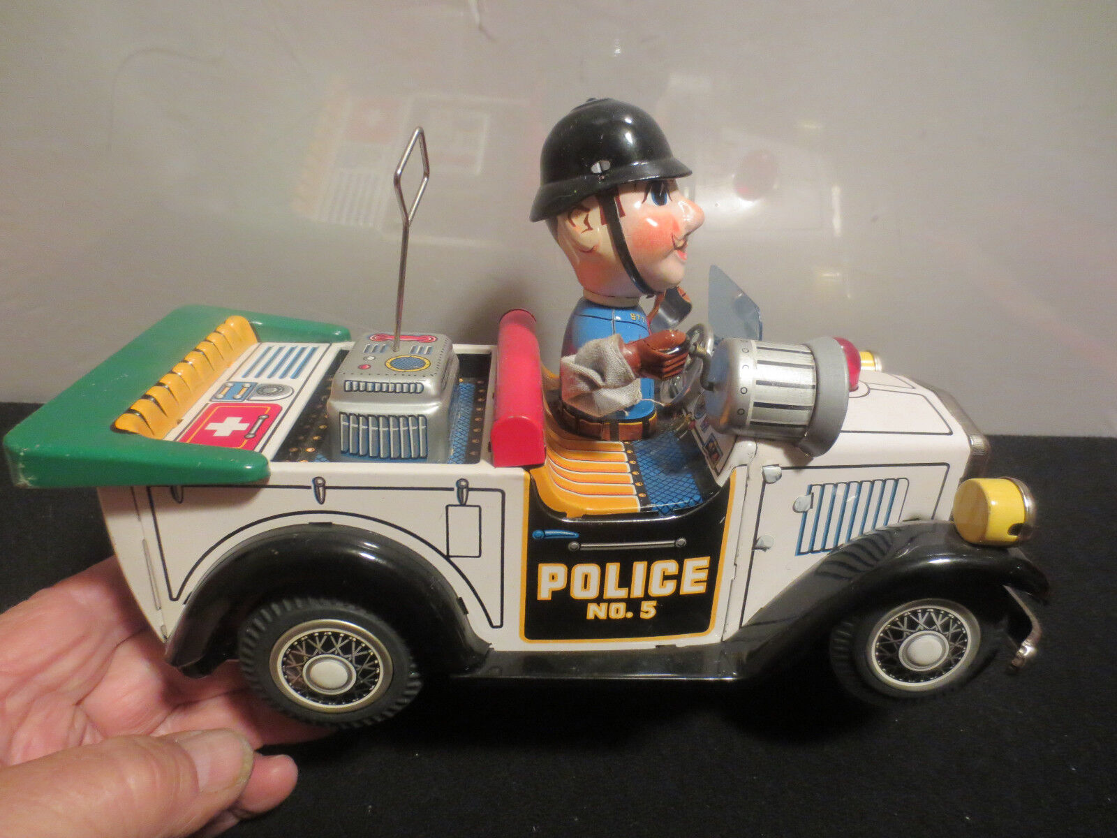 T.N. NOMURA BATTERY OPERATED   POLICE PATROL CAR   WITH ORIGINAL BOX  JAPAN