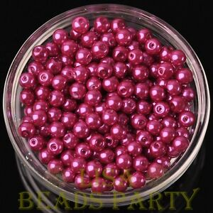 New-50pcs-6mm-Round-Glass-Pearl-Loose-Spacer-Beads-Jewelry-Making-Rose-Red