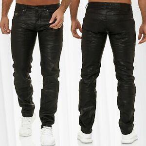 Pantalon-de-jeans-pour-hommes-enduit-de-coton-cire-de-cuir-de-motard-Optique