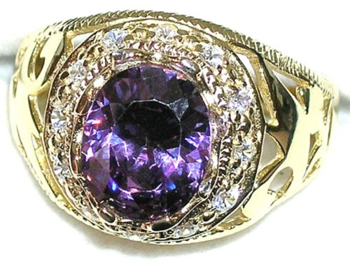 setting and stone  #31513  February BirthStone Men/'s 11x9mm Ring  You pick size
