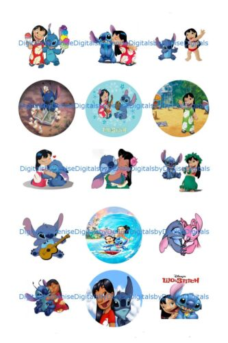 "DISNEY LILO AND STITCH bottlecap images 15 precut 1/"" circles ***FREE SHIPPING***"