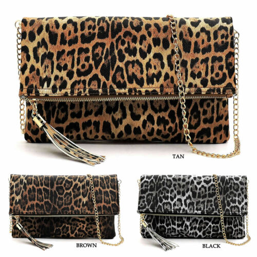 Leopard Bi-fold Envelope Clutch Crossbody Bag Tassel Zipper Animal Print Purse