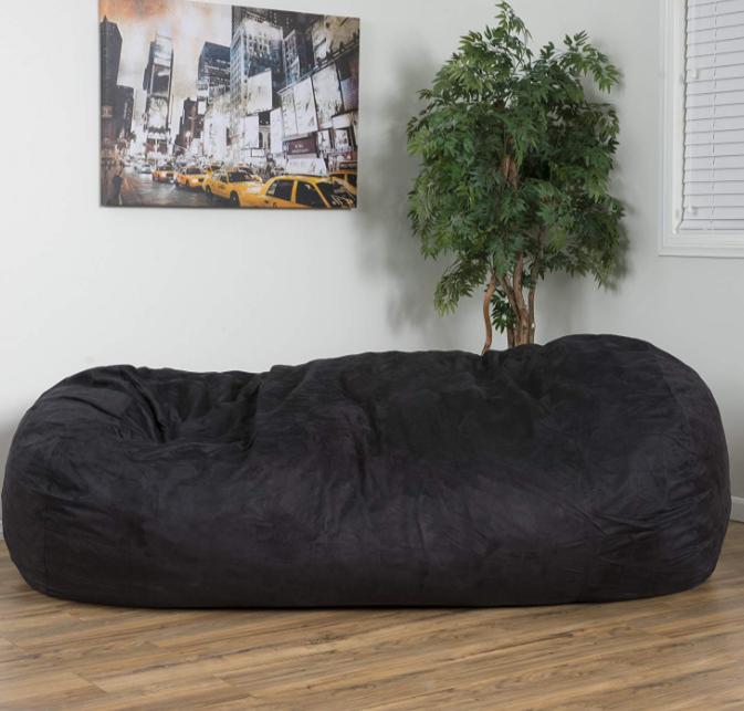 Enjoyable Extra Large Adult Bean Bag Chair 8 Ft Oversized Dorm Lounger Xl Sleeper Black Machost Co Dining Chair Design Ideas Machostcouk
