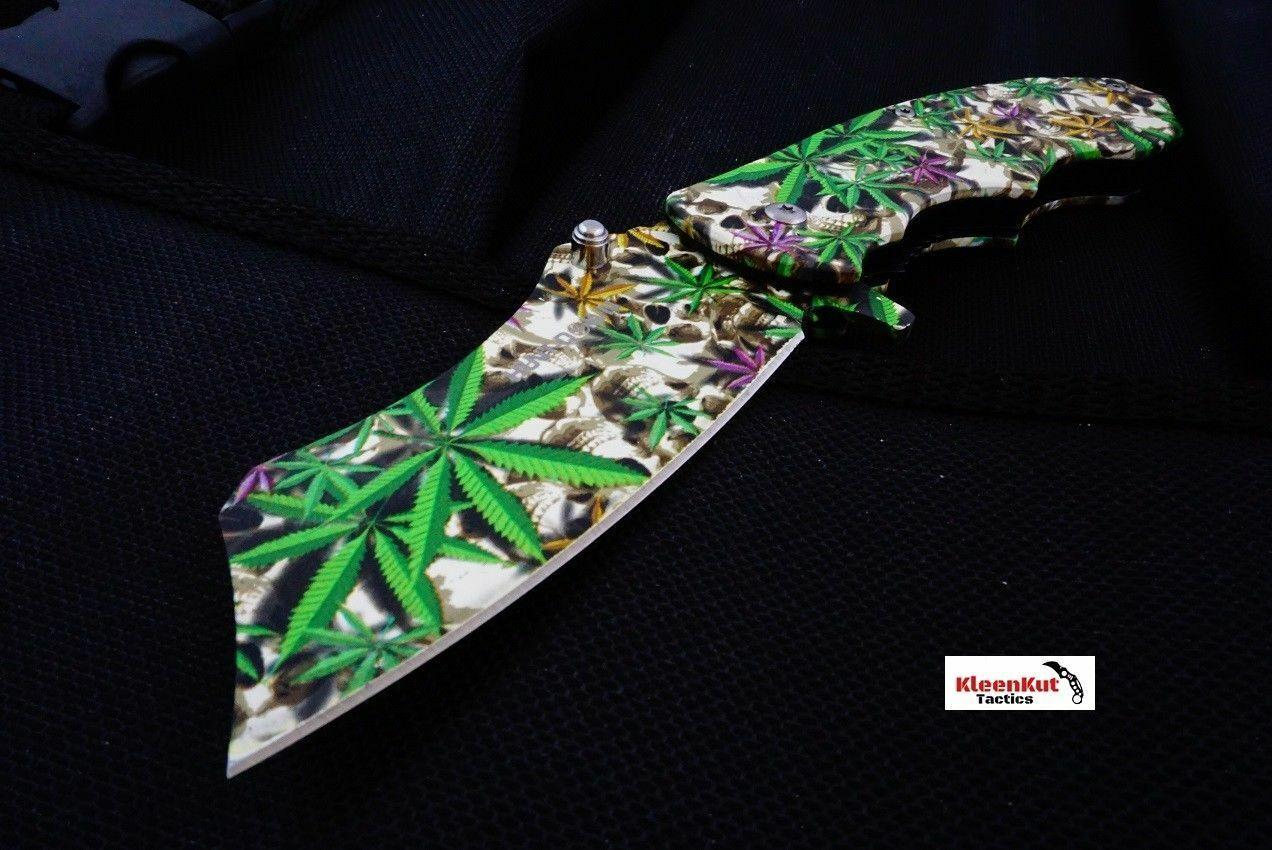 8″ Marijuana Leaf Spring Assisted Open Cleaver Tactical Pocket Knife Razor Skull