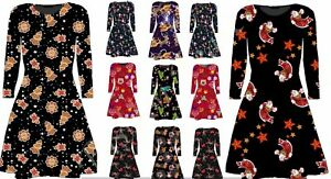 Damen Weihnachten Santa Schneemann Aufdruck Swing Kleid Übergröße Hemd