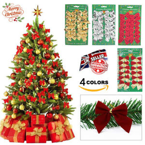 Christmas Tree Decoration Ornaments Gift Bows Xmas Party Bauble Glitter Decor