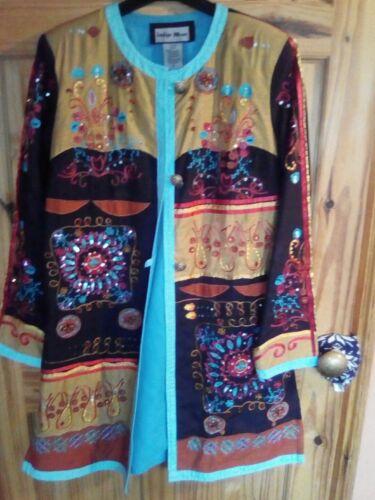 S Indigo Embelished Moon Jacket Ethnic Boho Maat YYAqwCa