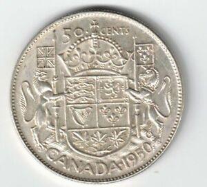 CANADA-1950-HALF-DESIGN-50-CENTS-HALF-DOLLAR-GEORGE-VI-800-SILVER-COIN-CANADIAN