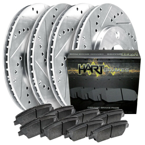 *DRILL /& SLOT* Brake Rotors CERAMIC Pads 1701 FRONT+REAR KIT Platinum Hart
