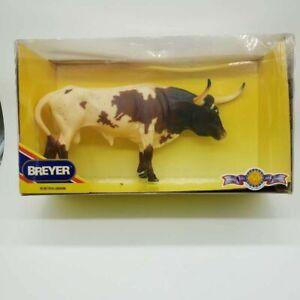 Breyer Horse Farm Animal #399 Texas Longhorn Bull Chestnut Pinto Cattle New