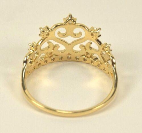 BRAND NEW 14k Yellow Gold CZ Wavy Princess Tiara Crown Ring Size 5-9