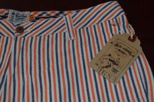 Neuf avec étiquettes pour Homme Old School Brand short rayé orange bleu marine 30 32 34