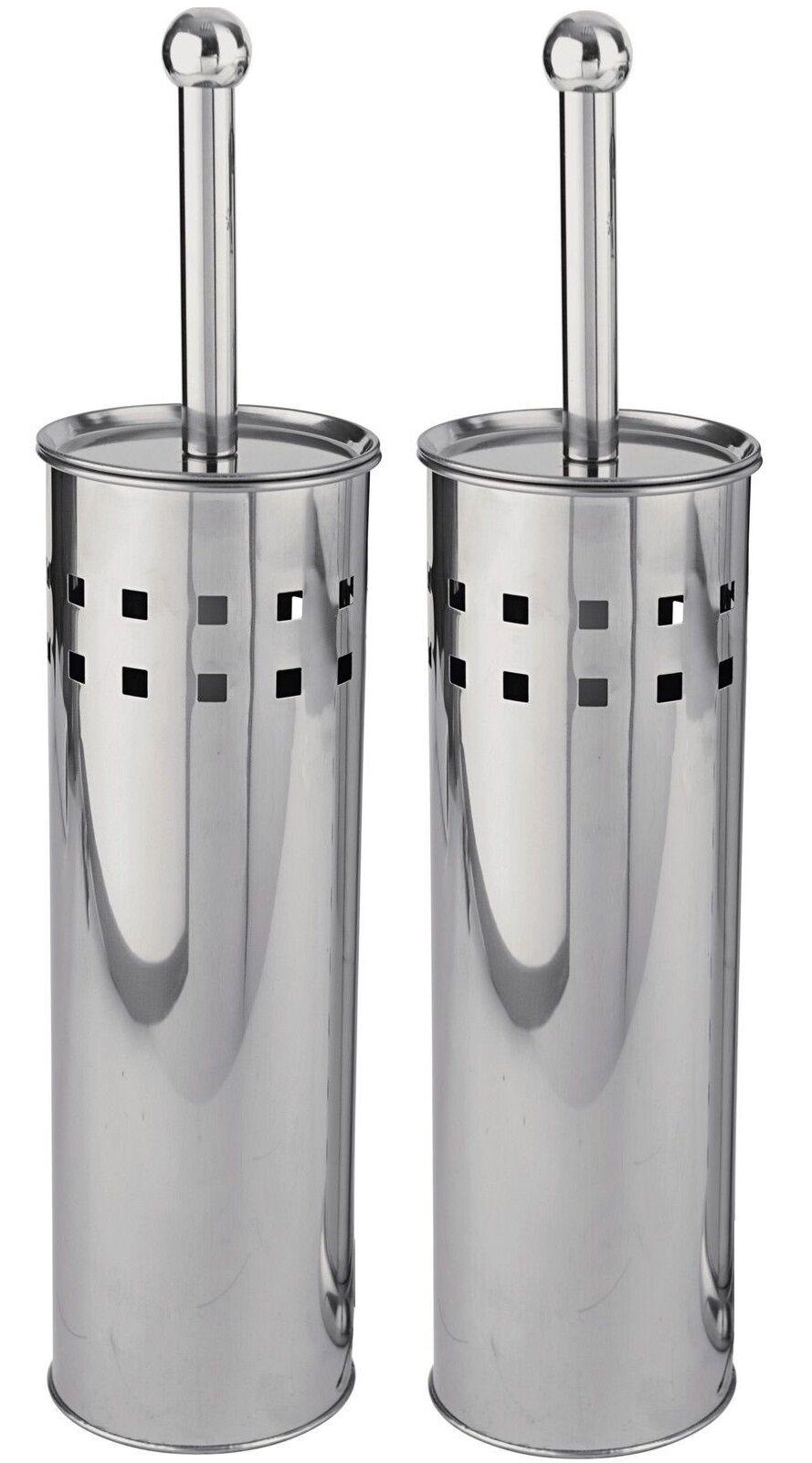 2 X Stainless Steel Chrome Plated Bathroom Toilet Brush & Holder Set