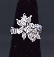 $6500 Vintage Platinum 2.05ct Round Marquis Diamond Engagement Cocktail Ring 4.5