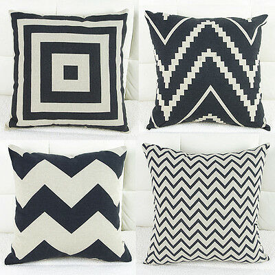 Black Beige Home Decor Cotton Cushion Cover Pillows Case Zig Zag Wave 45*45cm