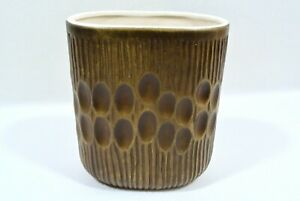 RARE Vintage MCM Haeger Pottery Vase Dimple Planter Dots Indents Bronze Brown