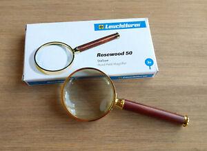 Stiellupe Rosewood 50, Lupe, 3-fach Vergrößerung, Glaslinse 50 mm, vergoldet OVP