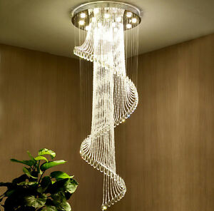 Modern Contemporary Crystal Chandelier Staircase Hallway Luxury Lamp Lighting Ebay