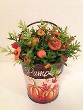 VTG Button Bouquet/Pumpkin Bucket-Country Decor-Shabby Cottage-Folk Art-HARVEST