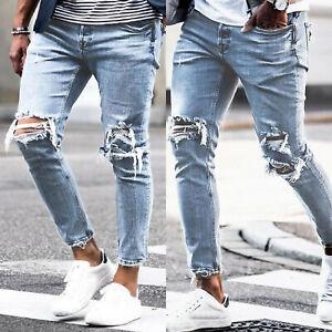 Men-039-s-Ripped-Skinny-Biker-Jeans-Destroyed-Frayed-Slim-Fit-Denim-Pants-Trousers