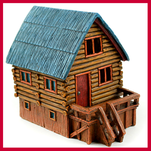 Fairy Garden Fun LED Lighted Log Cabin Fairy House