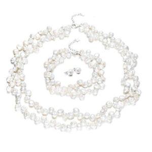 Elegant White Natural Freshwater Pearl Necklace Bracelet Set for Women