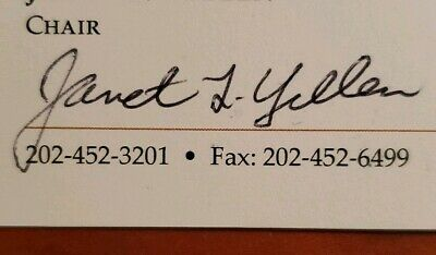 janet l yellen sign a business card board of governors of the federal reserve ebay ebay