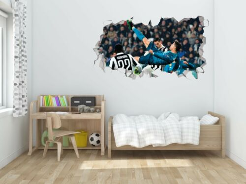 Cristiano Ronaldo Chilena Wall Hole 3D Decal Vinyl Sticker Room Smashed